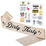 Dirty Thirty Gold Glitter Sash and Tattoo Pack - Happy 30th Birthday Party Supplies, Ideas and Decorations - Funny Birthday