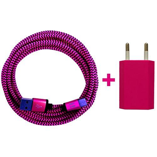 [i!®] USB Netzstecker 5V/1A + 1m Premium Nylon USB-C Ladekabel Datenkabel Set kompatibel mit Smartphone Handy Tablet Samsung Galaxy S10 S9 S8 Plus | pink