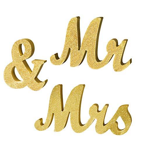De heer en mevrouw Brieven Teken Bruiloft Decoratie, 30 x 6 Inch Decoratieve Sweetheart Tafel Houten Brieven Staand voor Photo Props, Party Banner, Bruiloft Douche Gift (Goud Glitter)