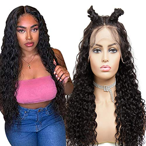 A ALIMICE Deep curly wigs Brazilian Hair Lace Frontal wigs Unprocessed 10A Virgin Hair 13x4 Lace Frontal wigs Glueless wigs Human hair (deep wig 22, 13x4 deep curly wig)