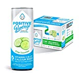 Positive Beverage IMMUNITY BOOST Crisp Cucumber, Zero Calorie, Electrolyte Beverage with Vitamins and Calcium, 12fl oz Cans, 12 Count Case