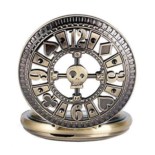 LGYKUMEG Relojes de Bolsillo de Bronce mecánico mecánico de Estilo Vintage con Cadena para Hombres Relojes de Esqueleto de Mujeres,Latón