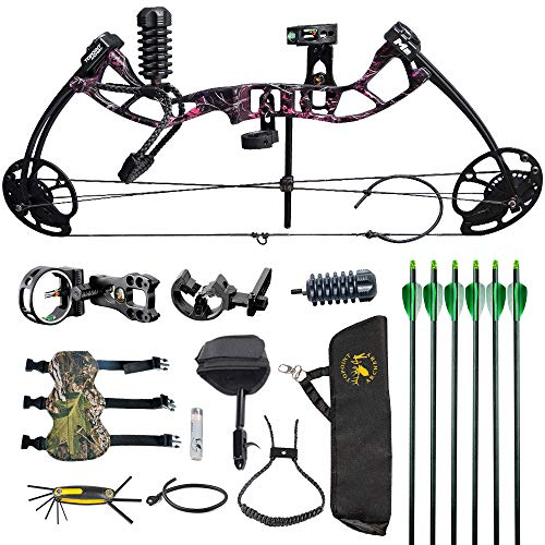 HYF Youth Compound Bow for Hunting and Beginner,Junior Compound Package/Set for Young Archers,290fps IBO Rate,Right Hand,Lightweight Design (camo) (Muddy Girl)
