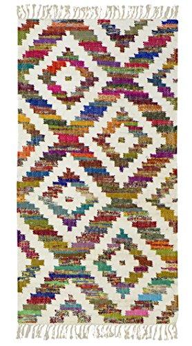 Jute & Co. Tappeto, Passatoia Kilim in Cotone di Alta qualità Tessuto a Mano, 100%, Multicolore, 140x70x0.50 cm