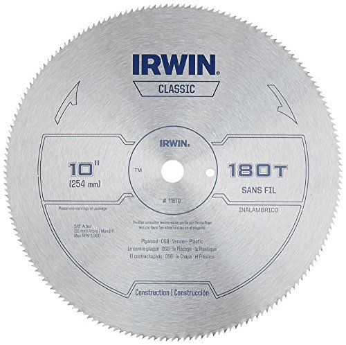 IRWIN 10-Inch Miter Saw Blade, Classic Series, Steel Table (11870)