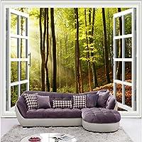 Iusasdz 窓の外の最新のHdサンシャインフォレスト写真壁画3Dステレオ自然壁紙リビングルームカフェ背景壁クラシックな装飾-200X140Cm