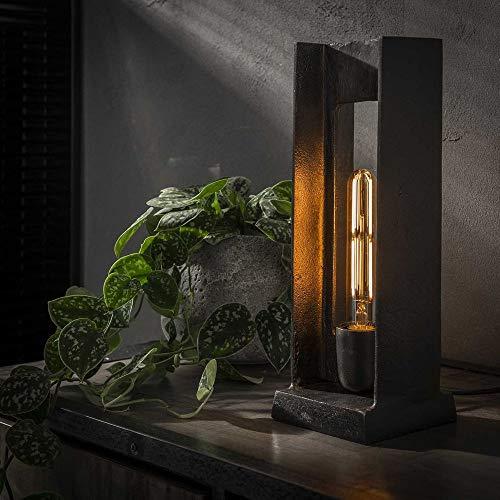 famlights Tischleuchte Hanno aus Metall in Schwarz & Nickel gebürstet,1x E27, Industrie Design | Industrial Tischlampe für Wohnzimmer, Schlafzimmer | Designerleuchte Standleuchte Nachttischlampe