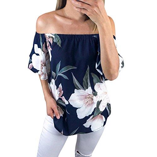 AmyDong Blusa Casual de Manga Corta con Hombros Descubiertos, a la Moda, con Estampado Floral, Azul, XL