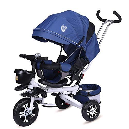 DBSCD Trikes for Toddlers,' Tricycle avec poignée pour Poussoir et siège pivotant pour Tout-Petit de 1 à 6 Ans, Repliable, Poubelle de Rangement (Couleur: Bleu)
