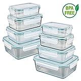 GOURMETmaxx Set de 8 contenedores de alimentos de vidrio, incluyendo la tapa | cierre cuádruple y sello de silicona | perfecta conservación del aroma de la comida