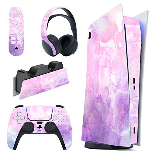 PlayVital Pink Watercolor Full Set Skin Decal for PS5 Console Digital Edition, Sticker Vinyl Decal Cover for Playstation 5 Controller & Charging Station & Headset & Media Remote