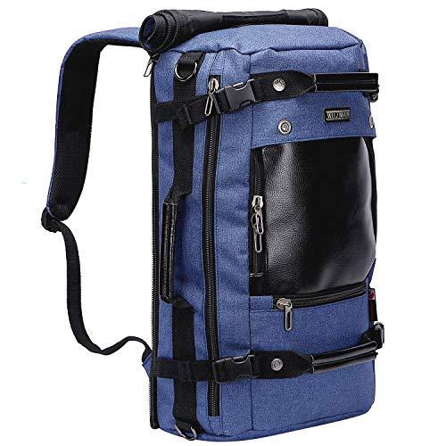 WITZMAN Water Resistant Travel Backpack for Men Large Weekend Laptop Rucksack Convertible Duffel Bag (A2021, Nylon Blue)