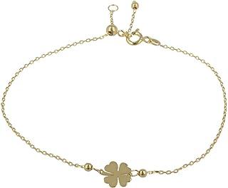 Gioiello Italiano - Bracciale Portafortuna in oro giallo 14kt, lunghezza regolabile tra 11 e 20cm, per donna e ragazza