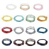 PandaHall cuerda de poliéster encerado, 75 unidades, 15 colores, 1.5 pulgadas, 1.5 mm, ajustable, colorido picadura para hacer manualidades, pulseras y tobilleras, abalorios