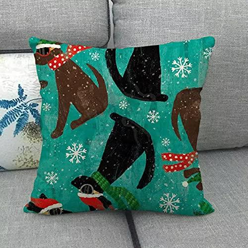YQMJLF Funda Cojine Funda Almohada 45x45 cm diseño de Perro Negro Lino/algodón Fundas de Almohada sofá Funda de cojín decoración para el hogar Almohada sofá Coche Asiento Decor hogar Navidad Regalo