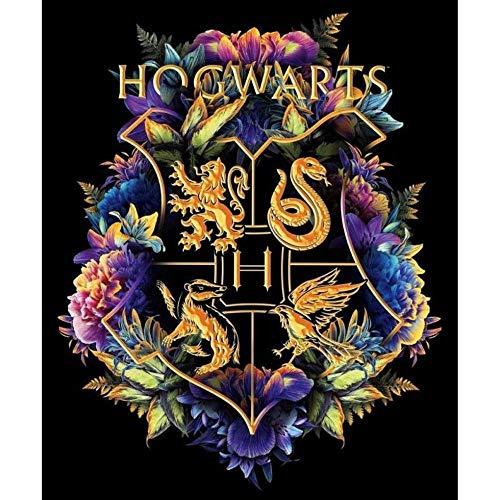 Yiyai DIY 5D Harry Icon H-Ogwarts Blume Full Diamond Painting Kreuzstich-Kits Kunst Cartoon 3D-Farbe von Diamanten-Runde 40x50CM