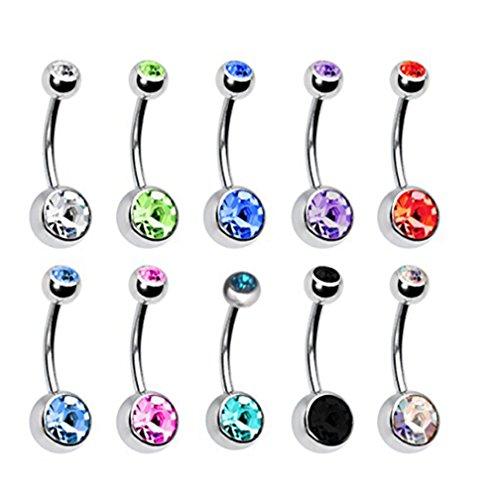 Ruikey 10pcs de acero inoxidable vientre anillo de la joyería piercing diamantes de imitación surtidos colores