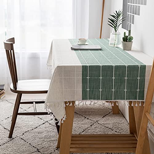 VIVILINEN Mantel Rectángulo Mantel de Lino de algodón, Borla de Costura Cuadrada Diseño Manteles rectangulares Manteles Lavables para Mesa de Comedor de Cocina (Verde, 140x180cm)