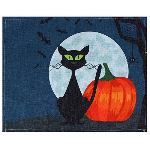 NTT Antideslizante De Mantelitos Individuales,Mantel Individual de algodón y Lino para Halloween, Mantel Rectangular, Suministros para Fiestas, Colores Surtidos (32x42cm, 6 Piezas)-Naranja_L