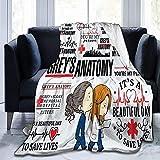 Greys-Anatomy - Coperta in pile ultra morbida per divano o letto, per soggiorno, 127 x 40 cm, piccola per bambini