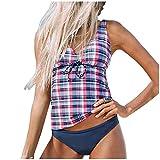 Lialbert Juego de tankini para mujer, diseño de cuadros y abdomen, acolchado, dos piezas, tallas grandes, bikini push up, tankini para...
