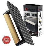 Enameled Bacon Press- Anti Rust Cast Iron Grill Press- Meat Press- Burger Press-...