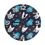 Mailine Reloj de Pared de Perro y Pata Relojes Decorativos Impermeables Reloj Ligero con manecillas de números Romanos Reloj de Pared Redondo Duradero