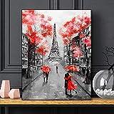 ganlanshu Rote Blume Plakat Paris Turm Bild Wohnzimmer