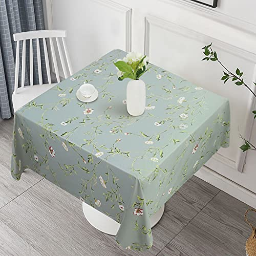 Vonabem 100% Waterproof Square PVC Tablecloth, Vinyl Table Cloth Cover Oil Proof Spill Proof Wipeable Table Cloths for Indoor and Outdoor Use(Green,54X54IN)