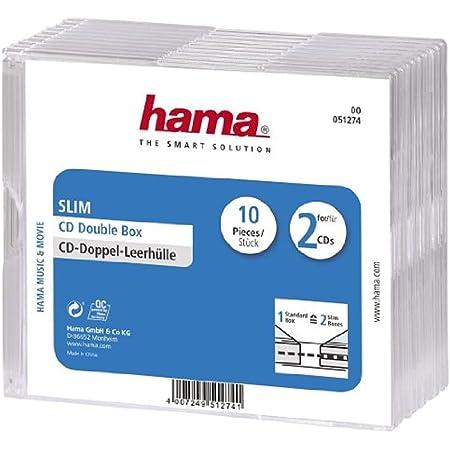 Hama CD Slim Double Jewel Case, pack 10 2discos Transparente - Fundas para discos ópticos (pack 10, 2 discos, Transparente)