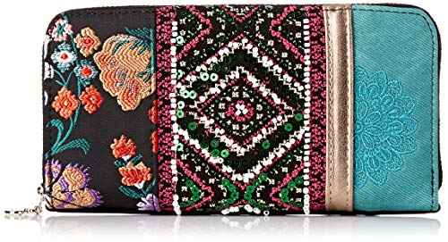 Desigual Damen Wallet Between Zip Around Geldbörse, Grün (Quenny), 9.5x2x19 cm