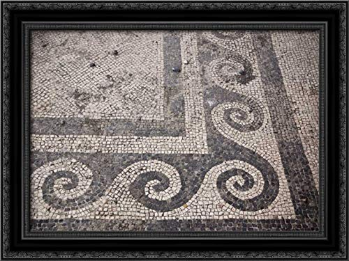 Kaveney, Wendy 24x17 Black Ornate Framed Canvas Art Print Titled: Italy, Campania, Pompeii Mosaic Floor Patterns