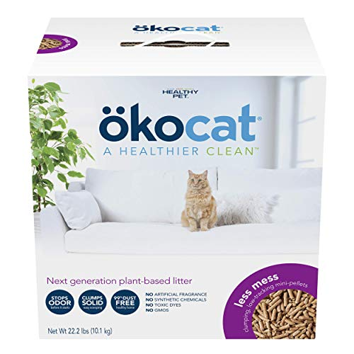 ökocat Less Mess Natural Wood Clumping Cat Litter Mini-Pellets, Great for Long-Hair Breeds, Large, 22.2 lbs.