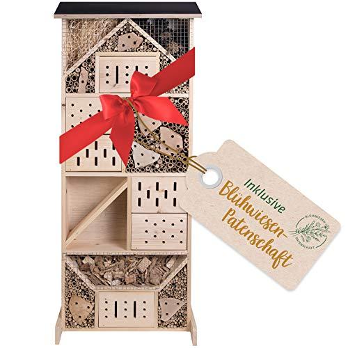 Gardigo Insektenhotel XXL Made in Germany | Insektenhaus für den Garten, 116 cm groß | Nisthaus für Wildbienen, Florfliegen, Marienkäfer und Schmetterlinge, aus Holz