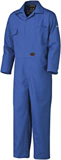 Pioneer V252031T-46 Flame Resistant Work Coverall, Heavy-Duty, 100% Cotton, Tall Fit, Men, Blue, 46