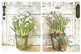 Cuadro de Madera de macetas, Fondo Blanco. Set de 2 Cuadros de 19 cm x 25 cm x 4 mm unid. Adhesivo...