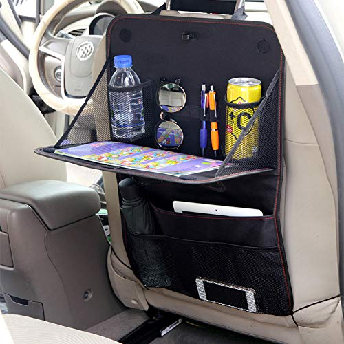 HomDSim Oxford Cloth Car Backseat Organizer with Foldable Table Tray Kids Seat Back Organizer for Car Travel Strorage Bag