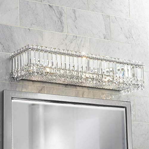 "Modern Wall Light Cut Crystal Columns Chrome 30"" Vanity Fixture for Bathroom Over Mirror - Possini Euro Design"