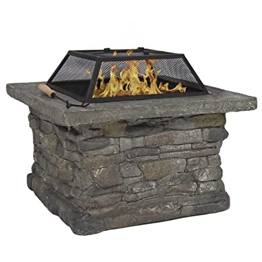 Best Choice Products Elegant 29  Outdoor Patio Firepit w/ Iron Fire Bowl, Stone Base, & Mesh Cover