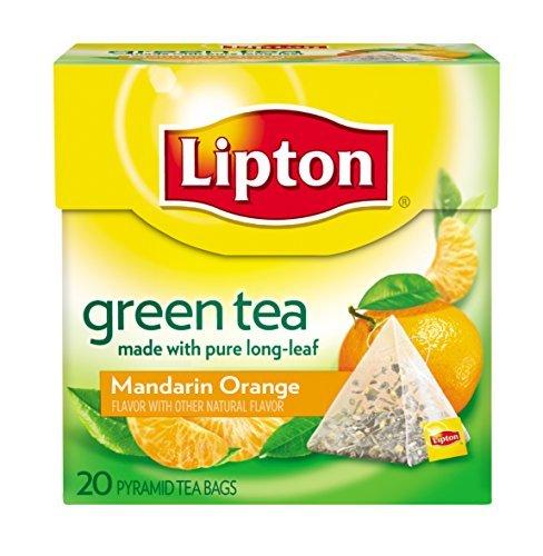 Lipton Tè Verde, Mandarino Arancione, Premium Piramide Bustina di tè, 20 Casella Di Conteggio Quantità Confezione: 1
