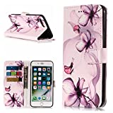 Gostyle iPhone 7 Case,iPhone SE 2020/iPhone 8 Leather Wallet Case,Purple Flower Pattern Flip