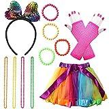 80 Fancy Dress Costume Accessories Rockstar Fancy Dress Neon Rainbow Tutu with Neon Rainbow Dress Glove Bracelets Necklaces Lace Bow Headband 80 s Costume Set For Women