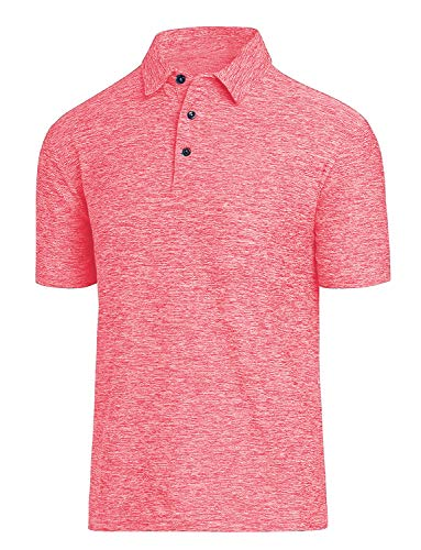 COSSNISS Men's Dry Fit Golf Polo Shirt, Salmon Red, Large