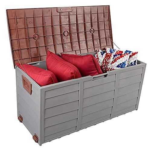 Caja de almacenamiento de plástico para jardín al aire libre con cerradura para herramientas de uso general, 300 L, caja de cubierta resistente para muebles de jardín, piscina, balcón, patio