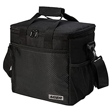 MIER 24-can Large Capacity Soft Cooler Tote Insulated Lunch Bag Outdoor Picnic Bag, Black