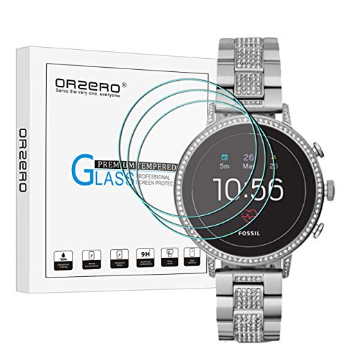 (3 Pack) Orzero for Fossil Women's Gen 4 Q Venture HR Smartwatch Tempered Glass Screen Protector, 2.5D Arc Edges 9 Hardness HD Anti-Scratch Bubble-Free (Lifetime Replacement)