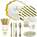 QARFEE 138-Pieces White & Gold Disposable Dinnerware Set