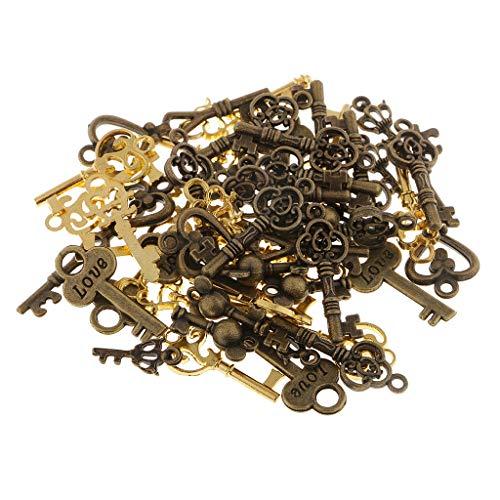 MagiDeal 50pcs Vintage Key Charms Colgante Joyería Que Hace El Collar de Accesorios Artesanía DIY
