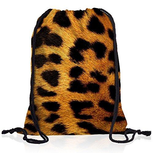style3 Leopardmuster Leopard Rucksack Tasche Turnbeutel Sport Jute Beutel Leo
