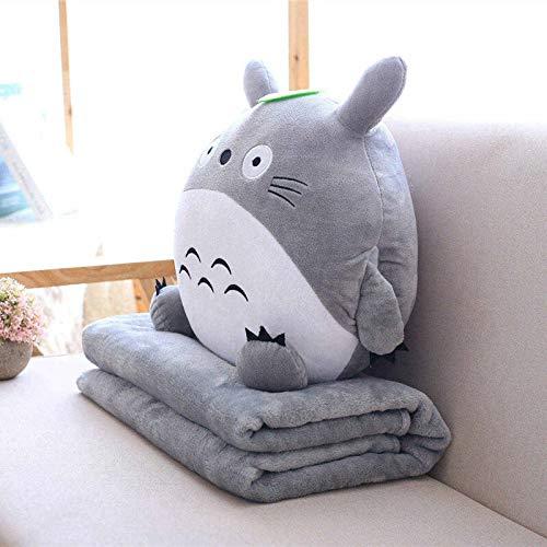 tongchuang Juguete de peluche multifunción 3 en 1, almohada suave con manta, cojín de mano caliente para bebés y niños, manta de anime (color: gris, altura: 30 cm)